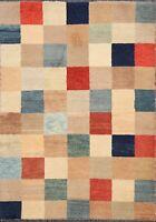 Contemporary Gabbeh Kashkoli Oriental Area Rug Hand-knotted Checkered 2x3 Carpet