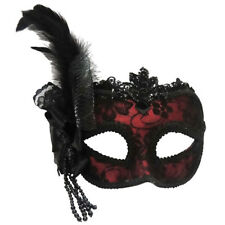 Red Side Feather Mask On Headband Masquerade Ball Fancy Dress