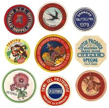 9 vintage round cheese labels