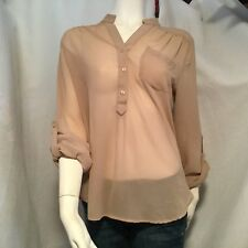 Forever 21 Women's Tan Blouse Sheer Tab Sleeve Size Medium