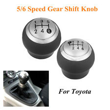 5/6 Speed Manual Leather Silver Cap Gear Stick Shift Shifter Knob For Toyota