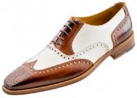 Chaussures richelieu à lacets Oxford faites main en cuir marron et blanc