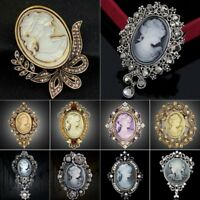 Retro Jewelry Cameo Crystal Brooch Pin Flower Women Lady Wedding Bridal Gifts