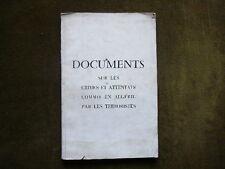 DOCUMENTS SUR LES ATTENTATS COMMIS EN ALGERIE PAR LES TERRORISTES