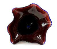 "STUDIO ART GLASS COBALT BLUE AND RED MOTTLED LUSTER FINISH RUFFLE 11 1/4"" VASE"