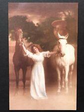 repro vintage postcard HORSES WITH WOMAN BEAUTY romantic Pleiades Press p132 NOS
