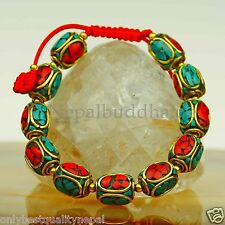 braccialetti colorati bracciale INDIA gioiello OTTONE TURCHESE CORALLO S2