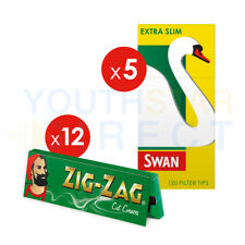 600 Zig Zag Green Regular Rolling Papers & 600 Swan Extra Slim Filter Tips COMBI