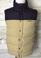 Men's Patagonia Bivy Down Vest Navy Beige Color Size M
