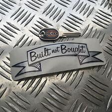 built not bought silver  decal 150 x 50mm hotrod vw kustom car sticker