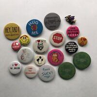 Vintage Travel Pinback Buttons Lot of 14 New York Boston Canada Oregon Sea World