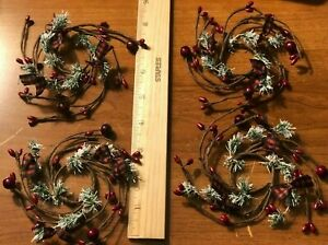 """DLCC~ Set of 4 burgundy pip berry candle rings 1.5"""" ctr checked bows pine rustic"""