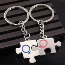2× Puzzle Piece Metal Couple Keychain Key Ring Organizer Holder Bag Decor _GG
