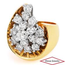 Estate 2.00ct Diamond 18K Gold Cluster Floral Cocktail Ring 15.3 Grams NR