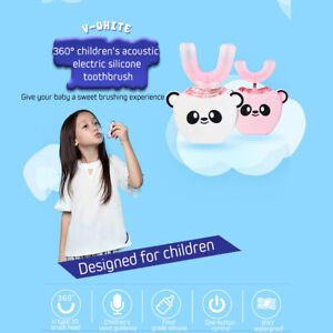 Children Electric Sonic Teeth Whitening Toothbrush U-shaped 360° Automatic Clean