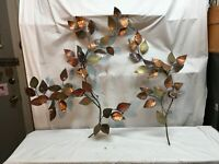 Vintage Mid Century Brass Copper Wall Sculpture Dog Wood Leaves 2 Stems