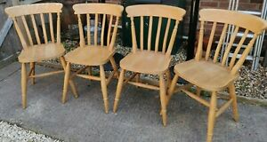 Set of 4 Beech Farmhouse Kitchen Chairs