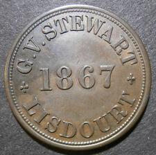 "Trade token - G.V. Stewart 1867 shilling ""1.0"" 1/ - Lisdourt Ireland W.2503"