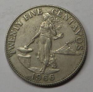 Philippines 25 Centavos 1966 Copper-Nickel-Zinc KM#189.1