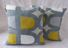"16"" Cushion Cover Saffron Yellow Mustard Grey Retro Print Handmade New 40cm"