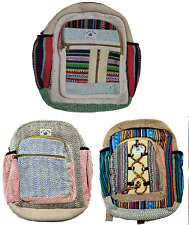 Assorted 1 pc Indian Hemp Back Pack Cotton Tote Travel School Small Backpack Bag