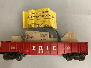 "LIONEL No. 3444 ""ERIE"" ANIMATED GONDOLA CAR w/INSTRUCTION SHEET, Original Box"