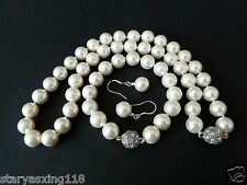 10mm white South Sea shell pearl fashion bracelet earring and necklace set