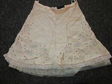BNWT TopShop Skirt UK 6 Peach Nude Net Beads Sheer Floral Lace Panels Dress Up