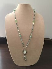LANYARD HANDMADE BEADED NECKLACE WITH GENEVA WATCH ESTATE SALE