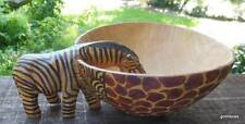 "Hand Carved Wooden Bowl with Zebra 7"" Diameter Unusual"