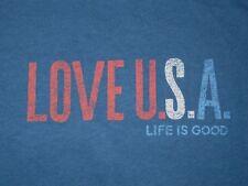 NEW Life is Good LOVE U.S.A. Blue S/S Patriotic T-SHIRT Women S NWOT