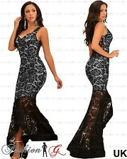 Womens Evening Dress Black Maxi Ball Gown Prom Party Long Floral Lace Size 12-14