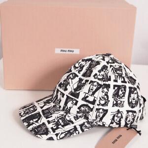 sz S NEW $320 MIU MIU White Denim WOMANS ALPHABET PRINT Collab BASEBALL CAP HAT