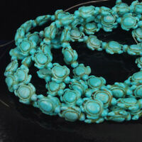 16'' A Strand Howlite Turquoise Carved Turtle Spacer Beads 14mm x 17mm Y1