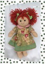 Doudou Poupée Chiffon Rousse Robe Vert Fleurs Couettes My Doll 32 cm