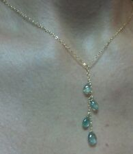 Zambian tear pear drop Emeralds on solid 14k gold pendant necklace