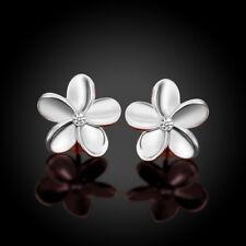 Women Rose Gold Plated Crystal Rhinestone Small Flower Ear Stud Earrings Solid
