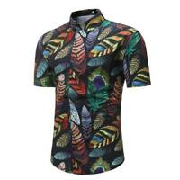 Men's stylish summer tops floral luxury slim fit formal t-shirt short sleeve