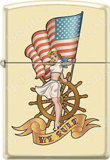 Zippo Pinup Nautical Flag Cream Matte WindProof Lighter NEW