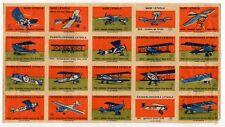 """Vintage Czechoslovakia """"Airplanes"""" Matchbox Labels Uncut Sheet: #s 1-20"""