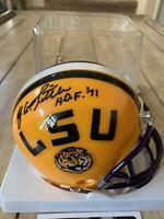 Y.A. Tittle Autographed/Signed Mini Helmet LSU Tigers YA B