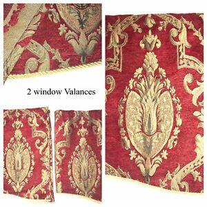 3 Pc Red Gold Velvet Damask Vintage ~ 2 Valances & 1 Panel