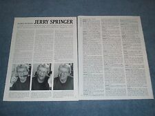 1998 Talk Show Host Jerry Springer Interview Article