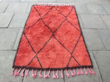 Vintage Traditional Hand Made Moroccan Beni Qurain Wool Red Rug 213x152cm