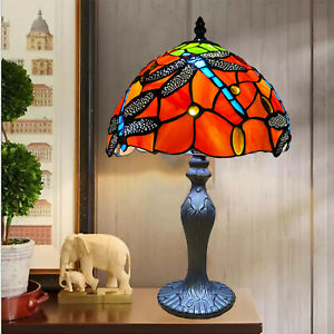 """Dragonfly Tiffany Style 10"""" Glass Shade E27 Bulb Table Lamps Bed/Living Room UK"""