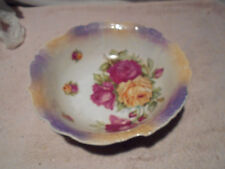 Antique  Germany LargePorcelain Serving Bowl Painted Roses