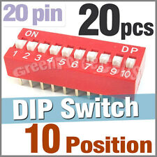 20 x 10 Position Ways Slide Style DIP Switch 2.54mm Pitch Gold Tone 20 Pin Code