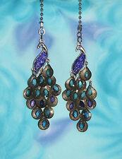 Two ~ Peacock Rhinestone Blue Purple Decorative ~ Custom Ceiling Fan Pulls