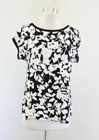 Kate Spade Black White Tan Abstract Floral Short Sleeve Top Blouse Size 4