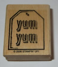 Yum Yum Rubber Stamp STAMPIN' UP! 2006 Tag System Retired Food Tie Label Wood